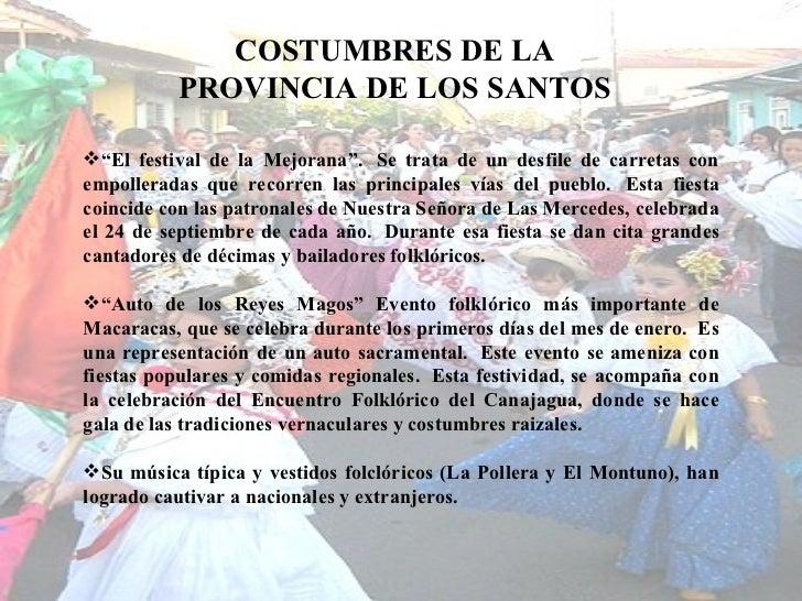 """COSTUMBRES DE LA PROVINCIA DE LOS SANTOS <ul><li>"""" El festival de la Mejorana"""". Se trata de un desfile de carretas con em..."""
