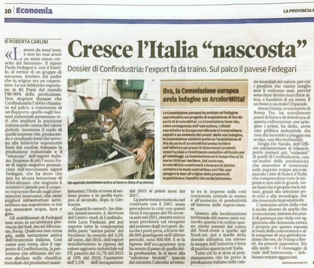 """Cresce l'Italia """"nascosta"""" - Dossier di Confindustria: l'export fa da traino. Sul palco il pavese Fedegari - di Roberta Ca..."""