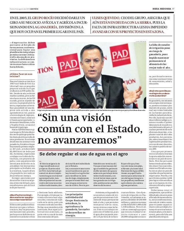 """17Martes 6 de agosto del 2013 GESTIÓN MESA REDONDA """"Sin una visión común con el Estado, no avanzaremos"""" Urgelaimplementaci..."""