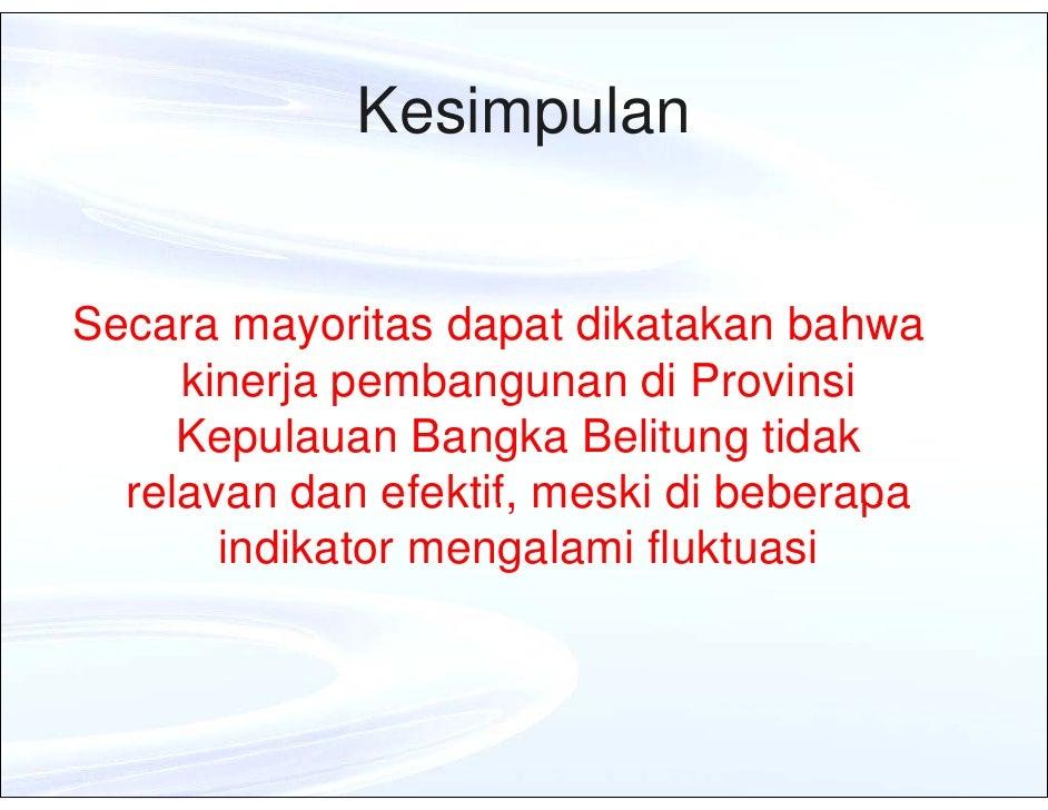 hasil evaluasi kinerja pembangunan daerah tahun 2009