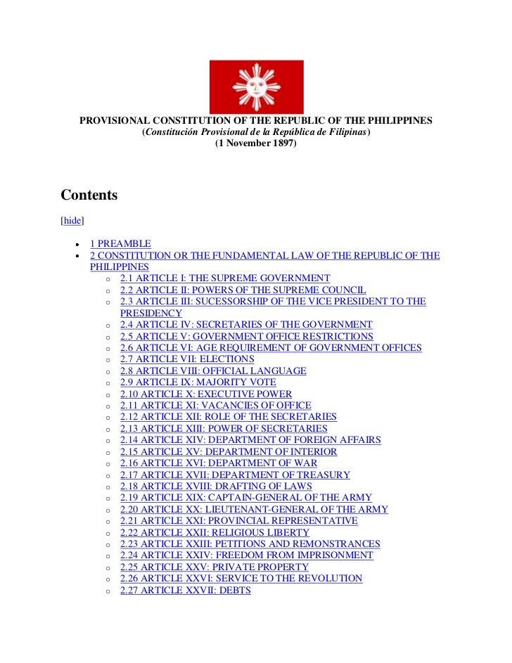 PROVISIONAL CONSTITUTION OF THE REPUBLIC OF THE PHILIPPINES(Constitución Provisional de la República de Filipinas)(1 Novem...