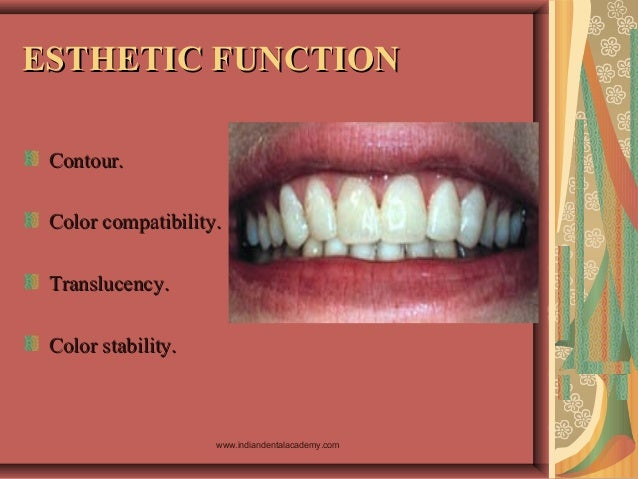 ESTHETIC FUNCTIONESTHETIC FUNCTION Contour.Contour. Color compatibility.Color compatibility. Translucency.Translucency. Co...
