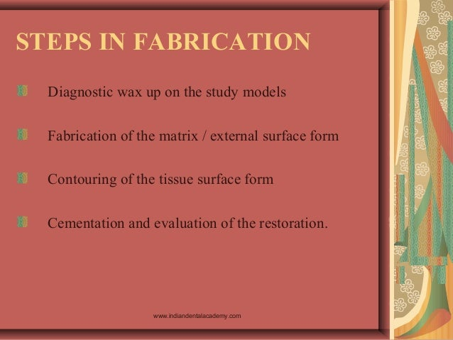 STEPS IN FABRICATION Diagnostic wax up on the study models Fabrication of the matrix / external surface form Contouring of...