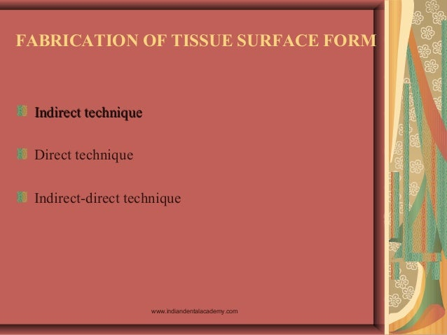 FABRICATION OF TISSUE SURFACE FORM Indirect techniqueIndirect technique Direct technique Indirect-direct technique www.ind...