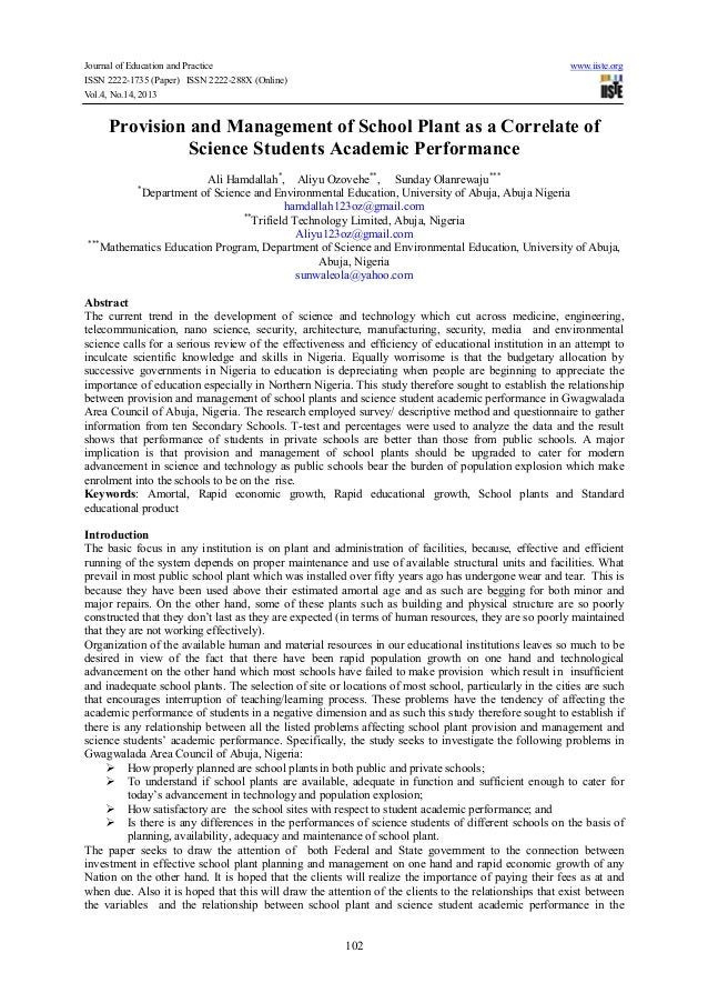 Journal of Education and Practice www.iiste.org ISSN 2222-1735 (Paper) ISSN 2222-288X (Online) Vol.4, No.14, 2013 102 Prov...