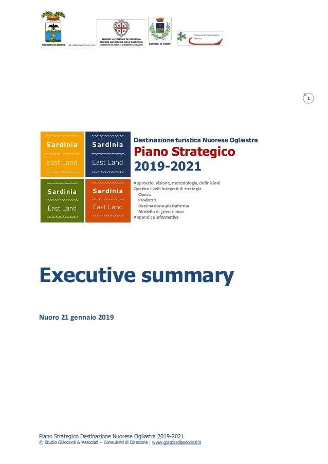 Piano Strategico Destinazione Nuorese Ogliastra 2019-2021 © Studio Giaccardi & Associati – Consulenti di Direzione | www.g...
