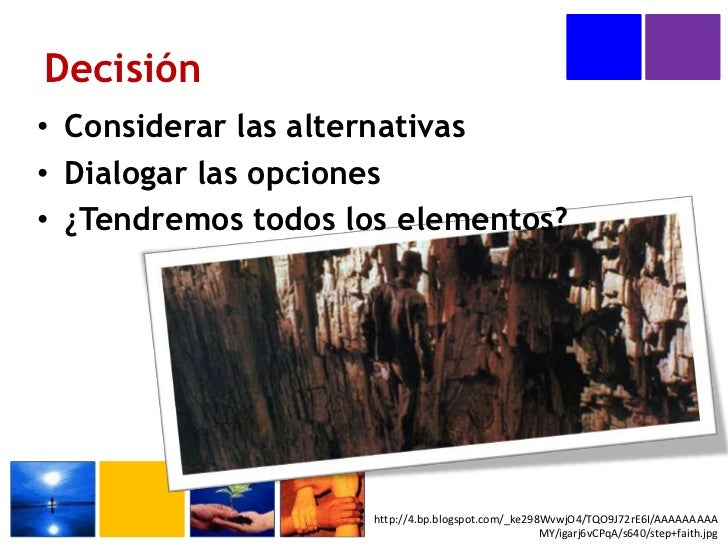 Decisión<br />Considerar las alternativas<br />Dialogar las opciones<br />¿Tendremos todos los elementos?<br />http://4.bp...