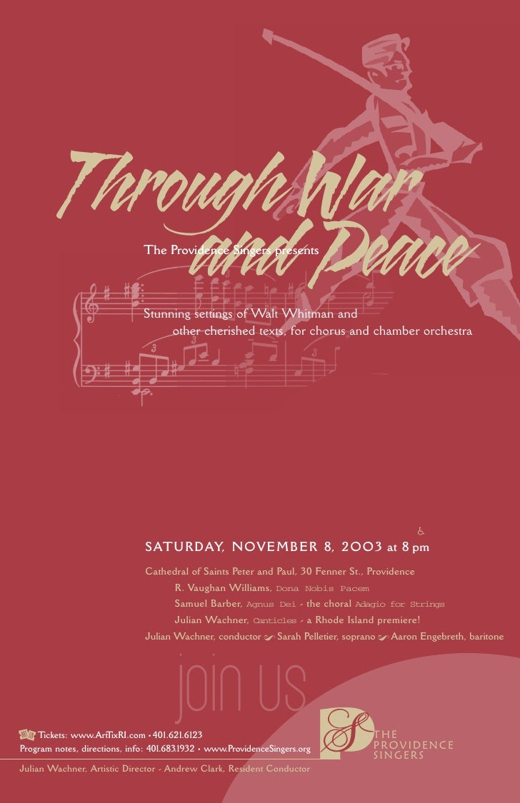 Through War               and Peace        The Providence Singers presents                                   Stunning sett...
