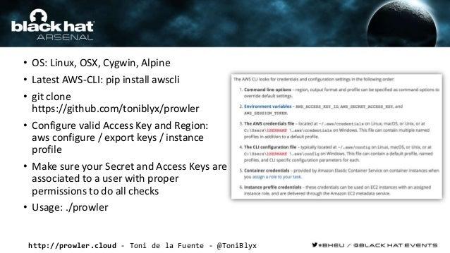 http://prowler.cloud - Toni de la Fuente - @ToniBlyx • OS: Linux, OSX, Cygwin, Alpine • Latest AWS-CLI: pip install awscli...