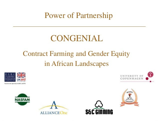 Power of Partnership CONGENIAL Contract Farming and Gender Equity in African Landscapes