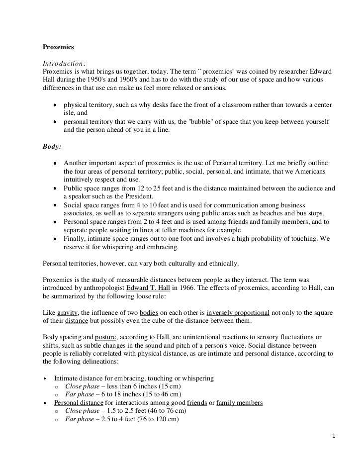 Essay on proxemics