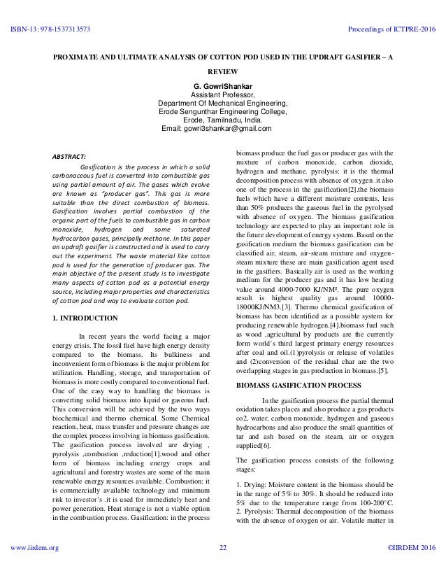 Proximate and ultimate analysis of cotton pod used in the updraft gas…