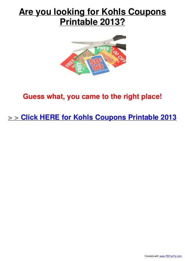 graphic regarding Guess Printable Coupons named Kohls Coupon codes Printable 2013