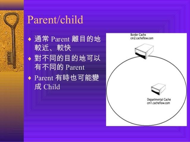 Parent/child  ¨ 通常Parent離目的地  較近、較快  ¨ 對不同的目的地可以  有不同的Parent  ¨ Parent有時也可能變  成Child