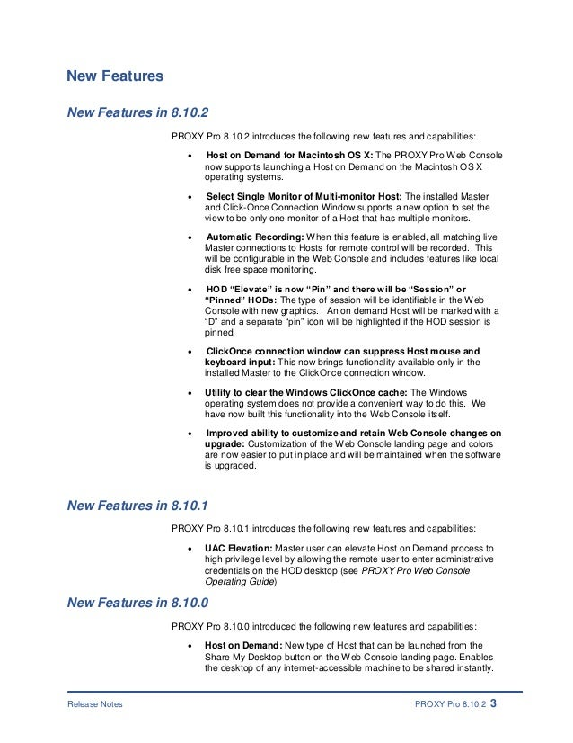 PROXY Pro 8 10 2 Remote Desktop Software - Release Notes