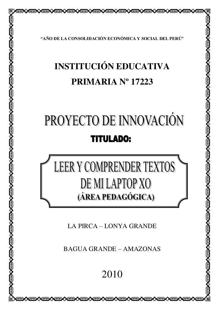 """""""AÑO DE LA CONSOLIDACIÓN ECONÓMICA Y SOCIAL DEL PERÚ""""     INSTITUCIÓN EDUCATIVA           PRIMARIA Nº 17223          LA PI..."""