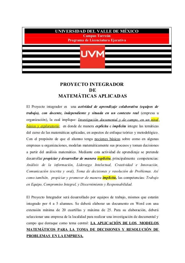 Proyecto Integrador de Matematicas Aplicadas (UVM, Campus Torreón)
