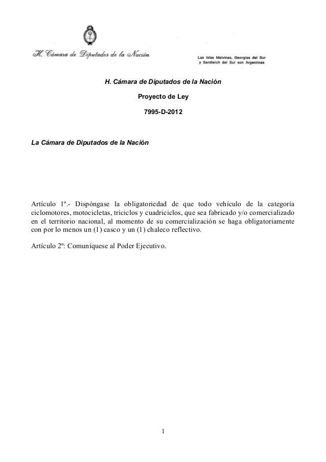 H. Cámara de Diputados de la Nación                                    Proyecto de Ley                                    ...