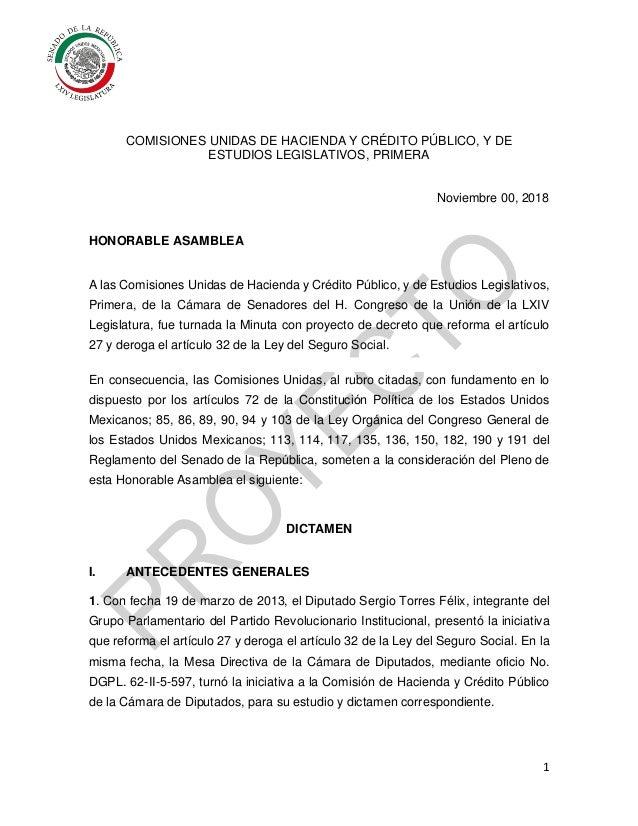 1 COMISIONES UNIDAS DE HACIENDA Y CRÉDITO PÚBLICO, Y DE ESTUDIOS LEGISLATIVOS, PRIMERA Noviembre 00, 2018 HONORABLE ASAMBL...