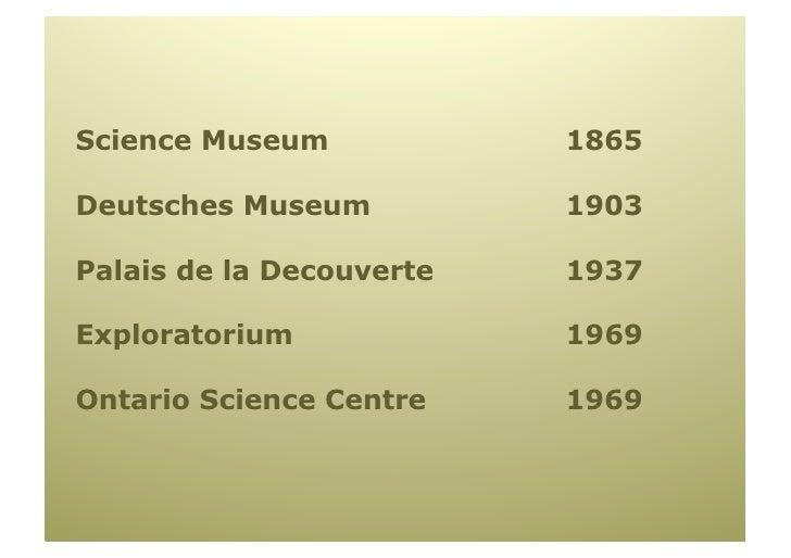 Science Museum            1865  Deutsches Museum          1903  Palais de la Decouverte   1937  Exploratorium             ...
