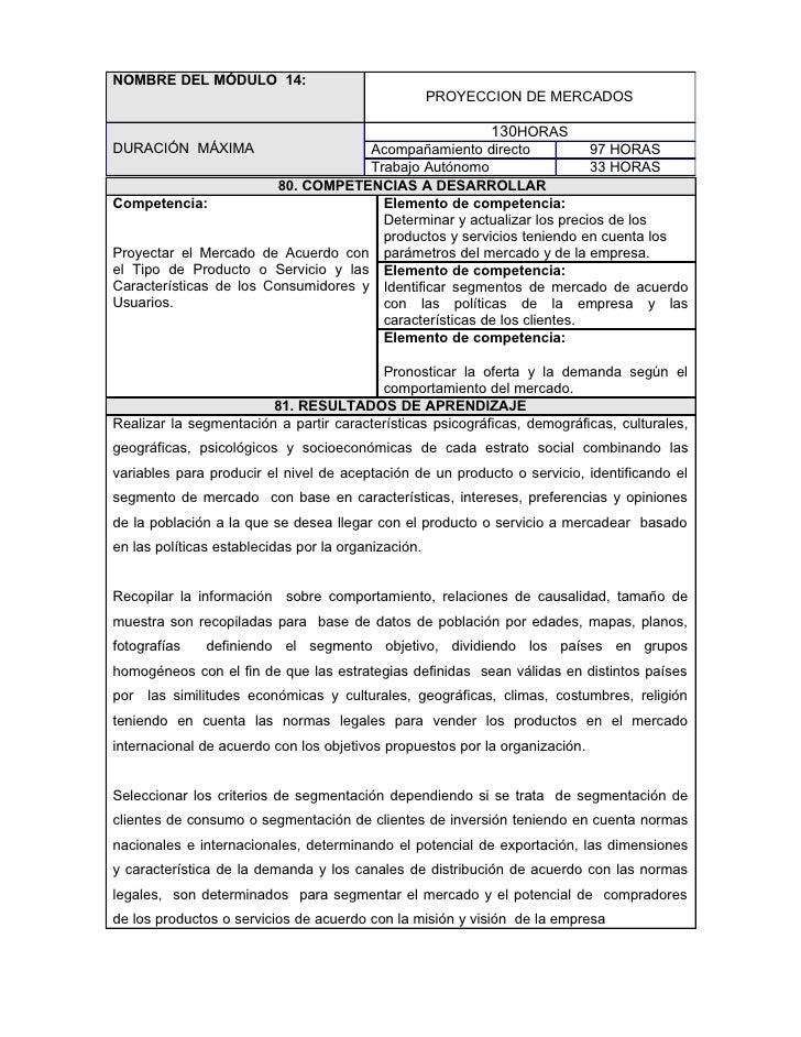 NOMBRE DEL MÓDULO 14:                                                      PROYECCION DE MERCADOS                         ...