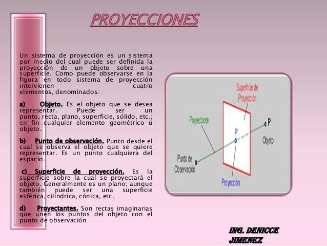 Un sistema de proyección es un sistema por medio del cual puede ser definida la proyección de un objeto sobre una superfic...