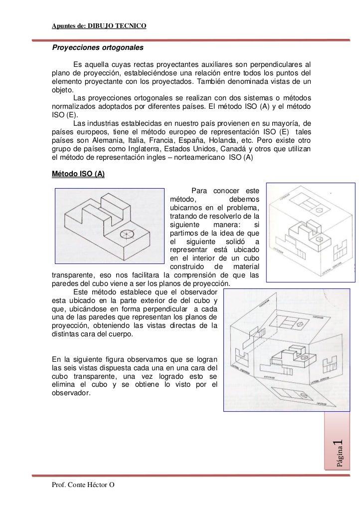 Apuntes de: DIBUJO TECNICO   Proyecciones ortogonales         Es aquella cuyas rectas proyectantes auxiliares son perpendi...