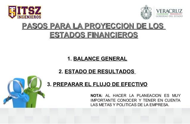 PASOS PARA LA PROYECCION DE LOSPASOS PARA LA PROYECCION DE LOS ESTADOS FINANCIEROSESTADOS FINANCIEROS 1. BALANCE GENERAL 2...