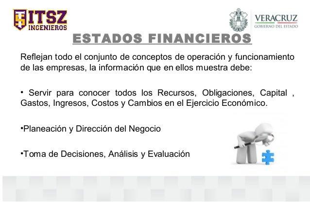 ESTADOS FINANCIEROS Reflejan todo el conjunto de conceptos de operación y funcionamiento de las empresas, la información q...