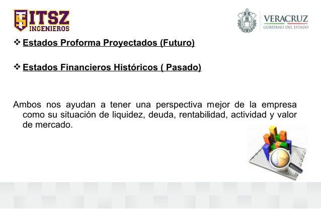 Estados Proforma Proyectados (Futuro) Estados Financieros Históricos ( Pasado) Ambos nos ayudan a tener una perspectiva ...