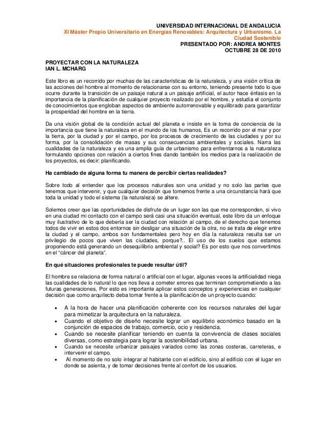 UNIVERSIDAD INTERNACIONAL DE ANDALUCIA XI Máster Propio Universitario en Energías Renovables: Arquitectura y Urbanismo. La...