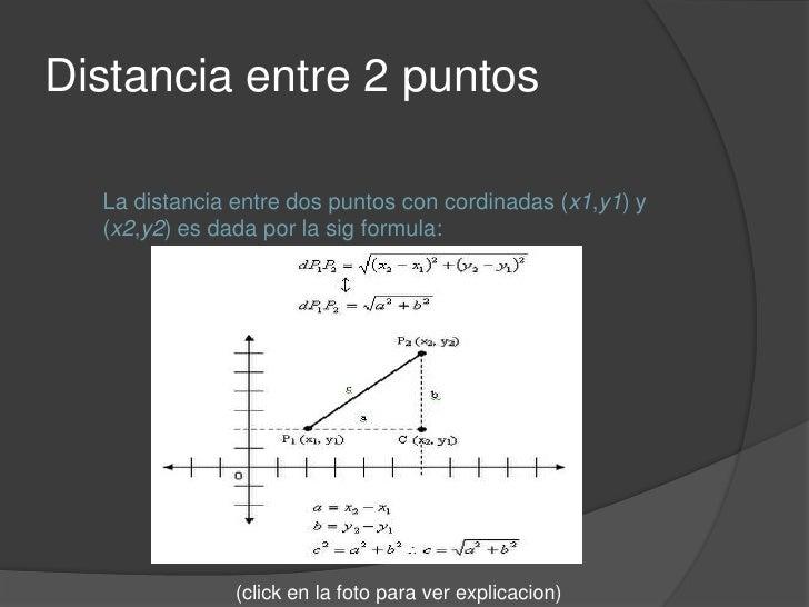 Distancia entre 2 puntos<br />La distancia entre dos puntos con cordinadas (x1,y1) y (x2,y2) es dada por la sigformula:<br...