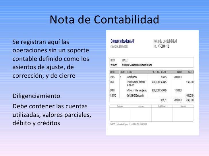 Nota de Contabilidad <ul><li>Se registran aquí las operaciones sin un soporte contable definido como los asientos de ajust...