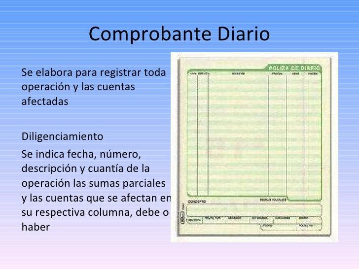Comprobante Diario <ul><li>Se elabora para registrar toda operación y las cuentas afectadas </li></ul><ul><li>Diligenciami...