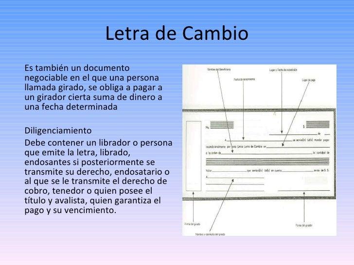 Letra de Cambio <ul><li>Es también un documento negociable en el que una persona llamada girado, se obliga a pagar a un gi...