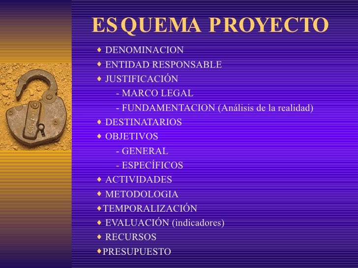 ESQUEMA PROYECTO <ul><li>DENOMINACION </li></ul><ul><li>ENTIDAD RESPONSABLE </li></ul><ul><li>JUSTIFICACIÓN </li></ul><ul>...