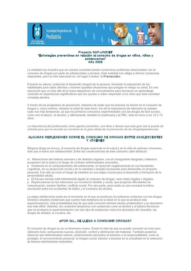 """Proyecto SAP-UNICEF         """"Estrategias preventivas en relación al consumo de drogas en niños, niñas y                   ..."""