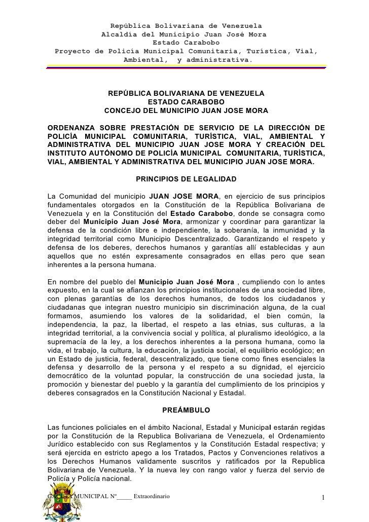 República Bolivariana de Venezuela              Alcaldía del Municipio Juan José Mora                          Estado Cara...