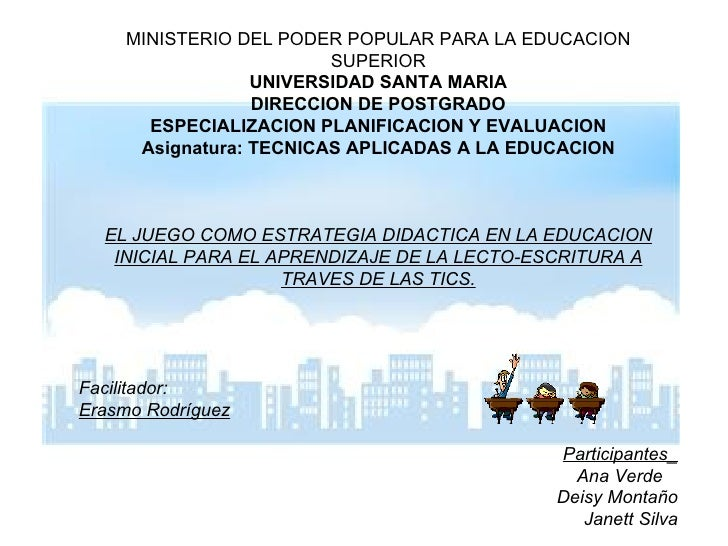 MINISTERIO DEL PODER POPULAR PARA LA EDUCACION SUPERIOR UNIVERSIDAD SANTA MARIA DIRECCION DE POSTGRADO ESPECIALIZACION PLA...