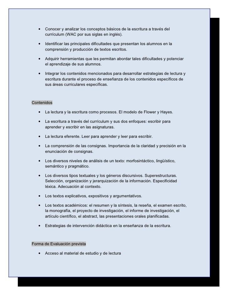 Proyecto: Escritura de textos académicos a través del currículum