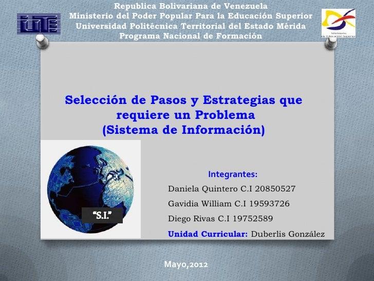 Republica Bolivariana de VenezuelaMinisterio del Poder Popular Para la Educación Superior Universidad Politécnica Territor...