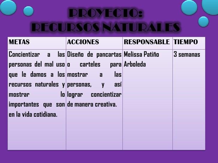 METAS                      ACCIONES            RESPONSABLE TIEMPOConcientizar a las         Diseño de pancartas Melissa Pa...
