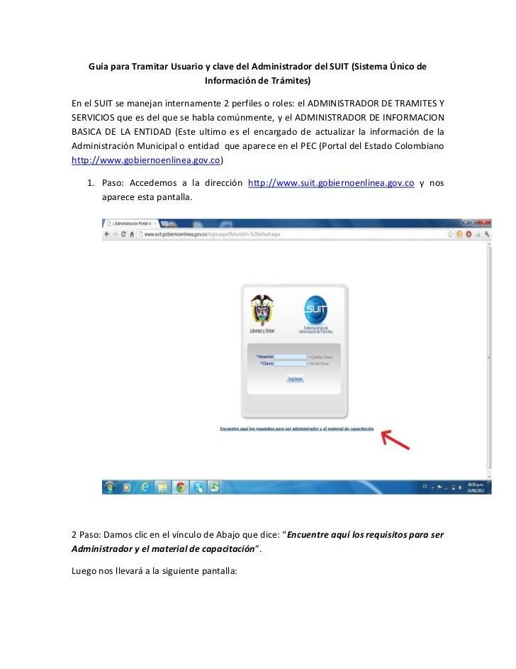 Guía para Tramitar Usuario y clave del Administrador del SUIT (Sistema Único de                               Información ...
