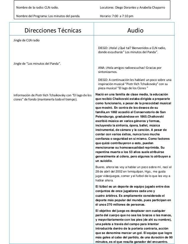 """Direcciones Técnicas Jingle de CLN radio Jingle de """"Los minutos del Panda"""". Información de Piotr Ilich Tchaikovsky con """"El..."""