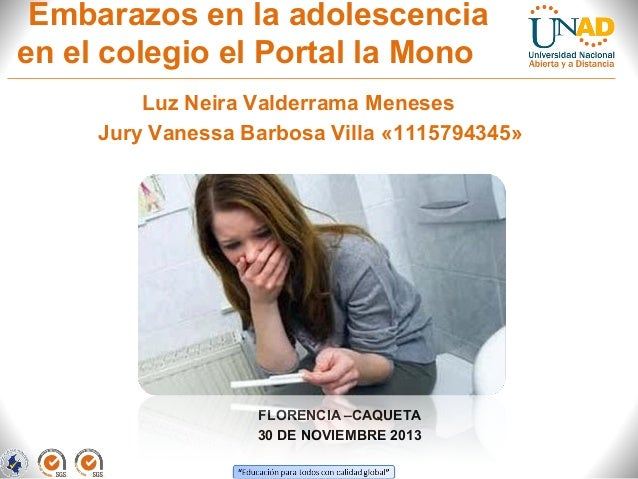 Embarazos en la adolescencia en el colegio el Portal la Mono Luz Neira Valderrama Meneses Jury Vanessa Barbosa Villa «1115...