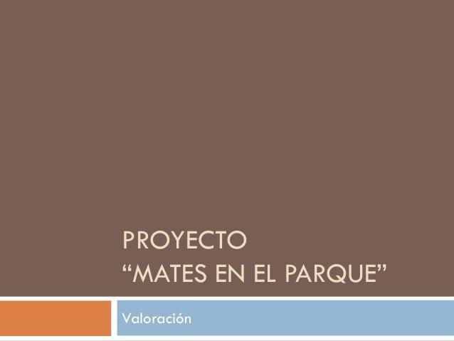 """PROYECTO """"MATES EN EL PARQUE"""" Valoración"""