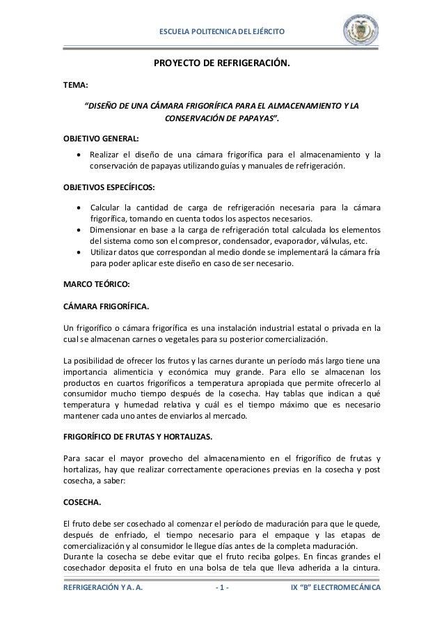 DISEÑO DE UNA CÁMARA FRIGORÍFICA PARA EL ALMACENAMIENTO Y LA CONSERVA…