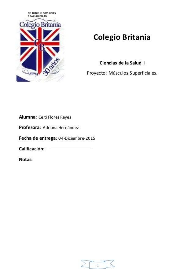 CELTI ITZEL FLORES REYES  5 BACHILLERATO  CIENCIAS DE LA SALUD  Colegio Britania  1  Ciencias de la Salud I  Proyecto: Mús...