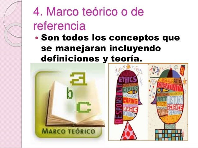 4. Marco teórico o de referencia  Son todos los conceptos que se manejaran incluyendo definiciones y teoría.