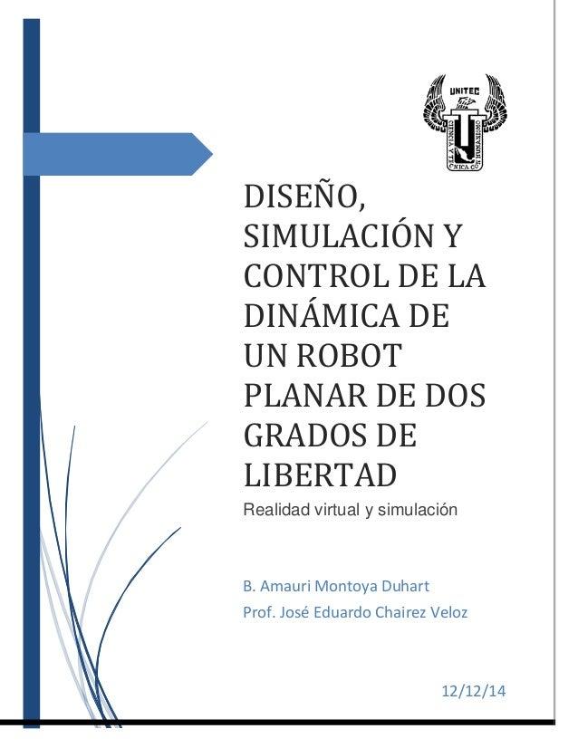 5434f4ae97c DISEÑO, SIMULACIÓN Y CONTROL DE LA DINÁMICA DE UN ROBOT PLANAR DE DOS  GRADOS DE ...